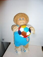 Upcycled Vtg 1985 CABBAGE PATCH KID boy DOLL COLECO tagged outfit w/soccer ball