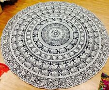 Hippie Elephant Tapestry Round Mandala Table Cover Bohemian Beach Towel Throws