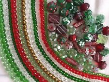 Christmas Bead Mix Holiday Lot Red Green Crystal Strands Handmade Lampwork Glass