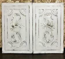 Pair scroll leaf basket wood carving panel Antique french architectural salvage