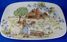 Carol Wright Signed FARM SCENE~Girl Ducks Lamb~Rectangular Ceramic Plate 10.5""