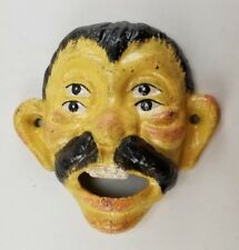 CAST IRON CIRCUS FACE BOTTLE OPENER FOUR EYES 4 EYED WITH MUSTACHE
