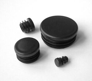 Round Plastic Blanking End Caps Tube Pipe Inserts Plugs Bungs / Black