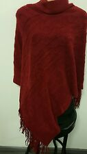 Turtle Roll Neck Warm Knit Tassled Poncho Wrap Cover Up Crimson, Black or Grey