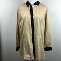 Coldwater Creek L Large Hidden Button Up Shirt Tan Black Trim Long Sleeve Cotton
