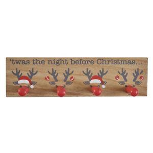 Reindeer noses 4 hook hanger stocking holder