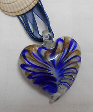 Murano glass necklace heart shaped blue gold stripes with cord ribbon necklace