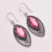 925 Sterling Silver Overlay Earrings, Handmade Gemstone Antique Jewelry PE747