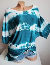 Oversize Shirt Tunika Batik Look weit, hinten länger ca 46 48 50 türkis grün Neu