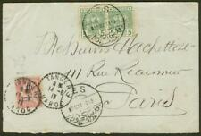 French Morocco 1913 cover/Cherifien 5m pair & 10c/10c