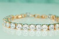 9ct 14K Yellow White Gold Finish Diamond Womens Bracelet Tennis Bracelet Wedding