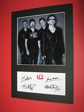 U2 BONO THE EDGE ADAM CLAYTON LARRY MULLEN A4 MOUNT SIGNED AUTOGRAPH REPRINT
