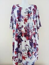NEW WOMENS DRESS 2 XL FLORAL DRESSES PLUS SIZE LANGELOOK SUMMER TUNIC WHITE TOP