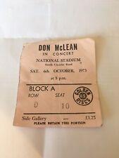 Original 1973 Don Mc Lean Ticket Stub, National Stadium Dublin