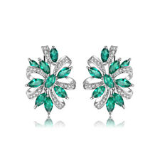925 Sterling Silver Emerald Zircon Women Jewelry Engagement Clip Earrings SE039