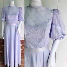 VTG 70s Hippie Boho Victorian Edwardian Periwinkle Lace Illusion Maxi Dress S