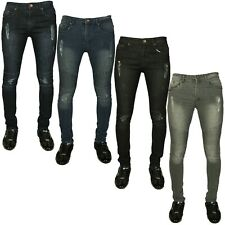 Stone Edge Mens Skinny Jeans Super Stretch Biker Denim Pants All Waist Sizes