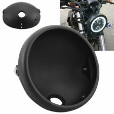 7'' Motorcycle Black Round Headlight Mounting Housing Bracket Front Lamp Cover