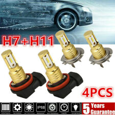 4x Mini H7 H11 Combo LED Headlight Fog Bulbs High Low Beam 240W 52000LM Bright