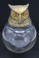 """Vintage Brass Owl Head on Glass Container - Arthur Court Style MCM Design ~ 8.5"""""""