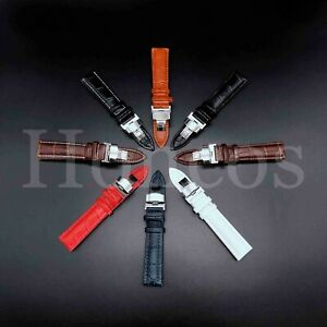 12-24 MM Watch Alligator Leather Strap Band Deployment Replacement Fits Seiko