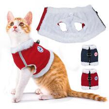 Fleece Cat Clothing Reflective Pet Cat Walking Harness Vest & D-ring Cat Coat