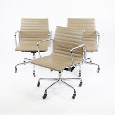 Eames Herman Miller Aluminum Group Executive Chairs Tan Leather 2000's 3x Avail