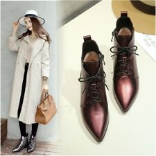 Luxury Pointed Toe Leather Low High Block Heel Women's Dress Ankle Boots Lace Up
