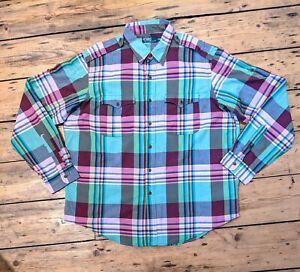 "Mens RALPH LAUREN POLO Check Western Shirt XXL Epaulettes Roll Up Sleeves 28""P2P"