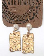 Wildflower Textured Hammered Metal Faux Pearl Earrings Goldtone/ Pearl
