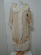Vintage LUCIE ANN? Cream Weaved LS Fur Trim Silk Lined House Duster EDIE ADAMS