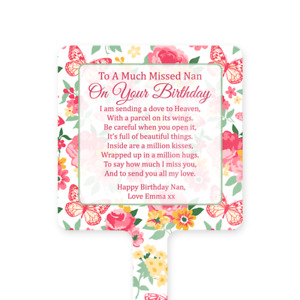 Personalised Happy Birthday Nan Memorial Card Ground Stake Grave Stone Butterfly
