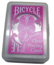 Vintage Bicycle Clear Plastic Playing Cards In Plastic Box 52+Jokers Pink New