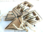 Pair Antique Weaving Loom Part Primitive Wooden Carved Pulley Harness Healds