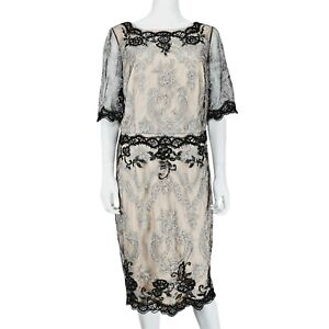 Monsoon Beige Black Mesh Silver Embroidered Beaded Dress UK 18 Short Sleeve
