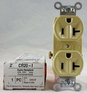 Pass & Seymour Duplex Receptacle CR20-I 20A, 125V, Ivory Commercial Grade NIB