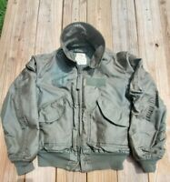 VTG 80s Cold Weather Flyer's Jacket CWU-45 Sz M Made in USA Sage Green Avirex LT