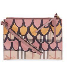 Burberry Tromp L'oeil Haymarket Leather Wristlet - Dusty Pink