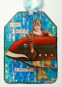 """""""I DON'T BELIEVE"""" ALTERED ART TAG Original outsider CHILD SEA MONSTER MERMAID"""