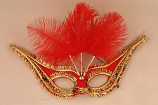 Red Feather Mask Masquerade Fancy Dress Costume Ladies Carnival Venetian Ball