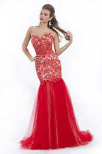 Prima Donna 5663 Red Nude Gorgeous Prom Pageant Gown Dress sz 2