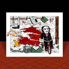 New SAW puppet on tricycle POSTER ART, artist signed, jigsaw, movie, II, IV, VI