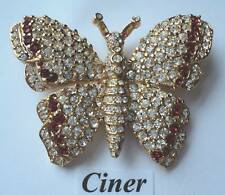 Ciner Pave' Butterfly Swarovski Brooch Pin