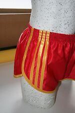 nailon Glanz Satén SPRINTER corto pequeñas a XXL AÑOS 70 & 80 retro, rojo y oro