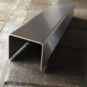 Edelstahl U-Profil rostfrei geschliffen 1.4301, Uprofil Kabelabdeckung 0,8  mm