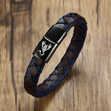 Animal Scorpion Men Braided Leather Bracelet Wristband Magnet Clasp Biker Surfer