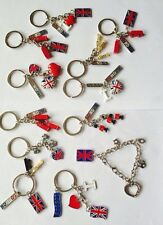 UNION JACK 12 KEY RINGS BRITISH UION JACK KEYCHAINS LONDON KEYRING SOUVENIRS