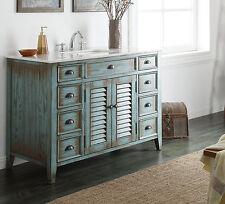 "47"" Distress Blue Cottage Style Abbeville Bathroon Sink Vanity - CF-28885BU"