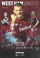 West Ham United v Bournemouth 18th August 2018 Match Programme 2018/19