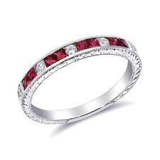 Wedding Stackable Ruby Ring 0.41 ct 18k White Gold Diamond Cocktail jupitergem